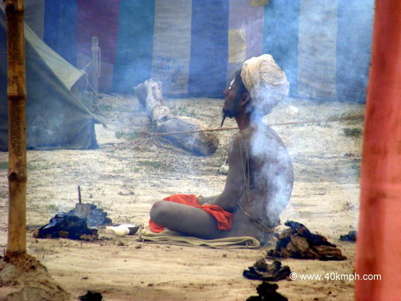 Naga Sadhu Meditating