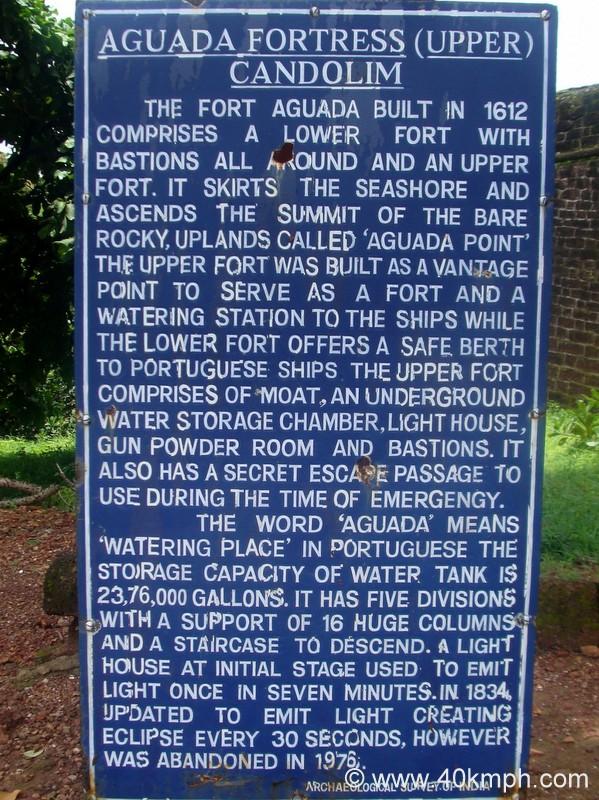 Aguada Fortress Upper (Candolim, Goa) ASI Historical Marker