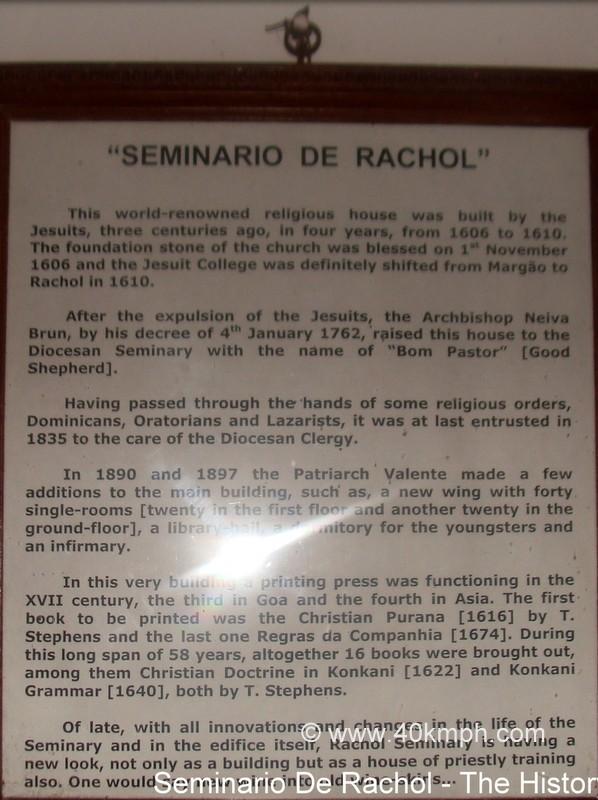 Seminario De Rachol (Rachol, Goa) Historical Marker