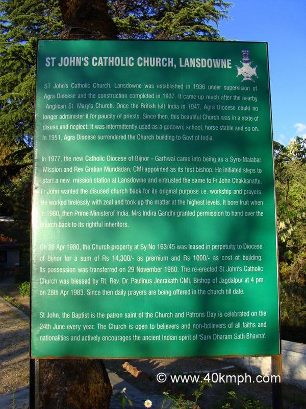 St. John's Catholic Church (Lansdowne, Uttarakhand) Historical Marker
