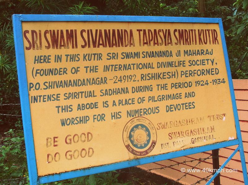 Sri Swami Sivananda Tapasya Smriti Kutir (Rishikesh, Uttarakhand) Historical Marker