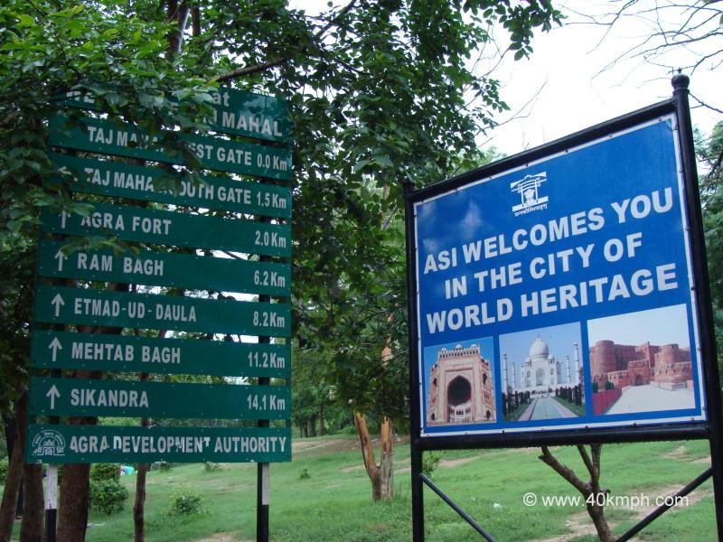 Tourist Sights and Distance from Taj Mahal, Agra, Uttar Pradesh