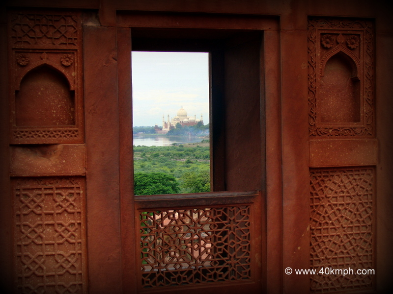 View of Taj Mahal from Akbari Mahal, Agra Fort, Uttar Pradesh