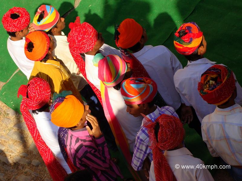 Men Wearing Colorful Rajasthani Safa during Inaugural Ceremony of Bundi Utsav - 2011, Rajasthan
