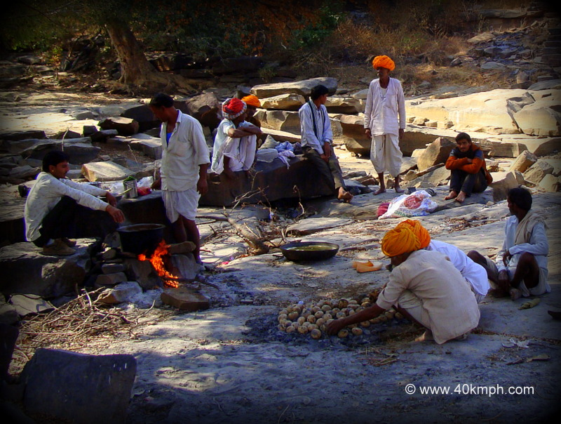 Preparation of Dal Bati Churma by Villagers