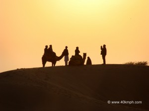 Tourist taking Pictures at Sam Sand Dunes, Jaisalmer, Rajasthan