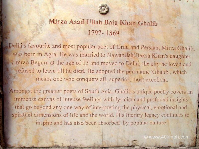 Mirza Ghalib Tomb (Nizamuddin Basti, Delhi) Historical Marker