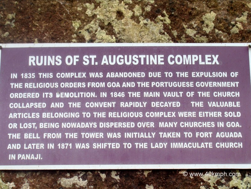 Ruins of St. Augustine Complex (Old Goa) Historical Marker