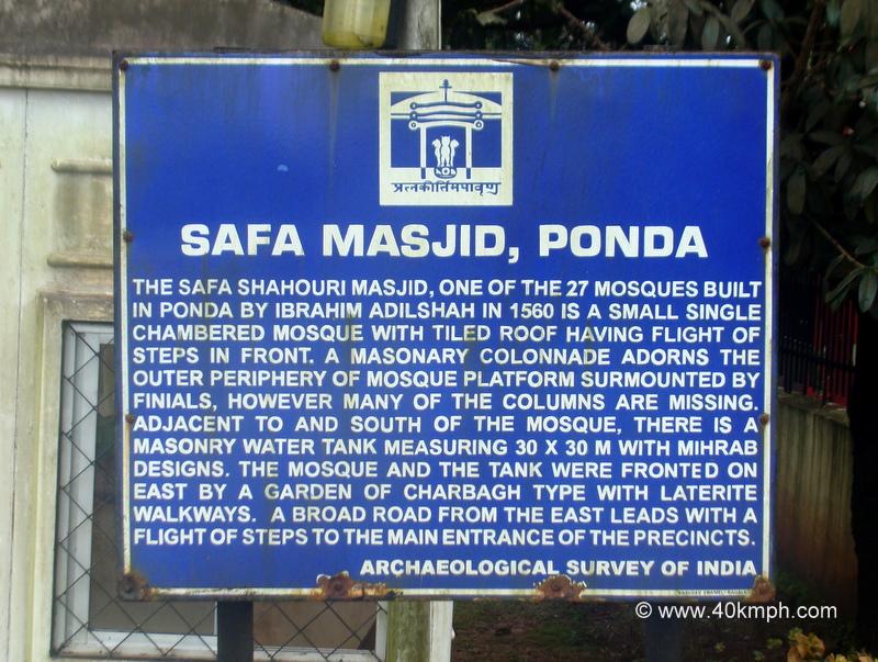 Safa Masjid (Ponda, Goa) Historical Marker