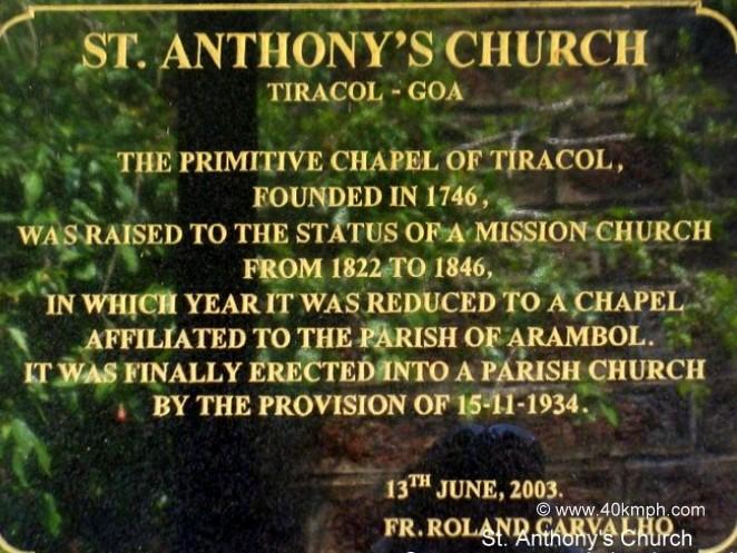St. Anthony's Church (Tiracol, Goa) Historical Marker