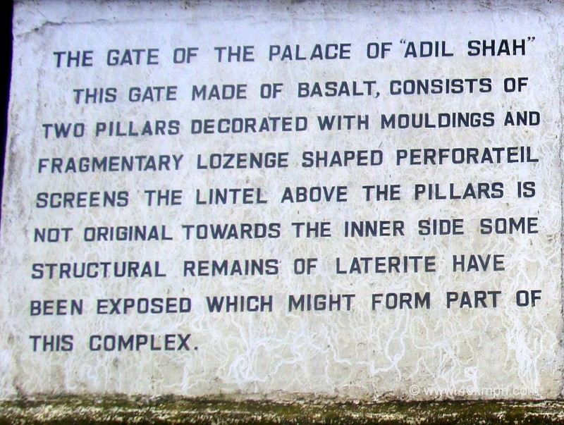 The Gate of The Palace of Adil Shah (Old Goa) Historical Marker