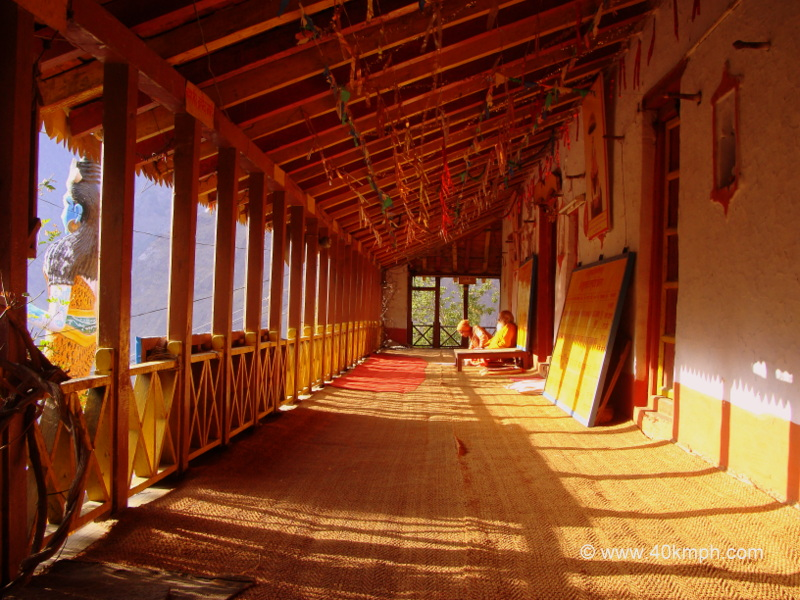 Beautiful Wooden Corridor of Jyotirmath Badrikashram, Himalaya