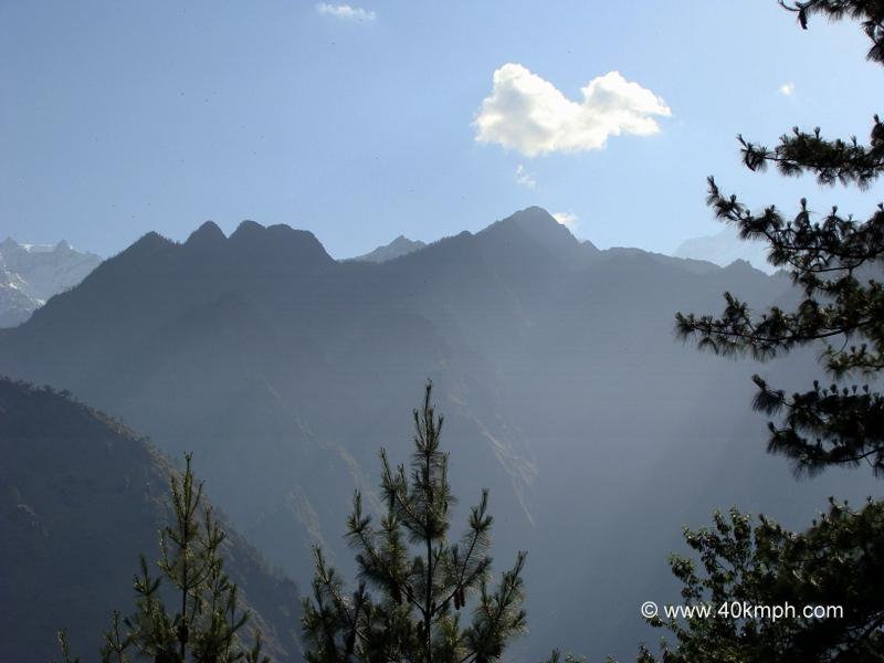 View of Sleeping Beauty Mountain from Joshimath, Uttarakhand
