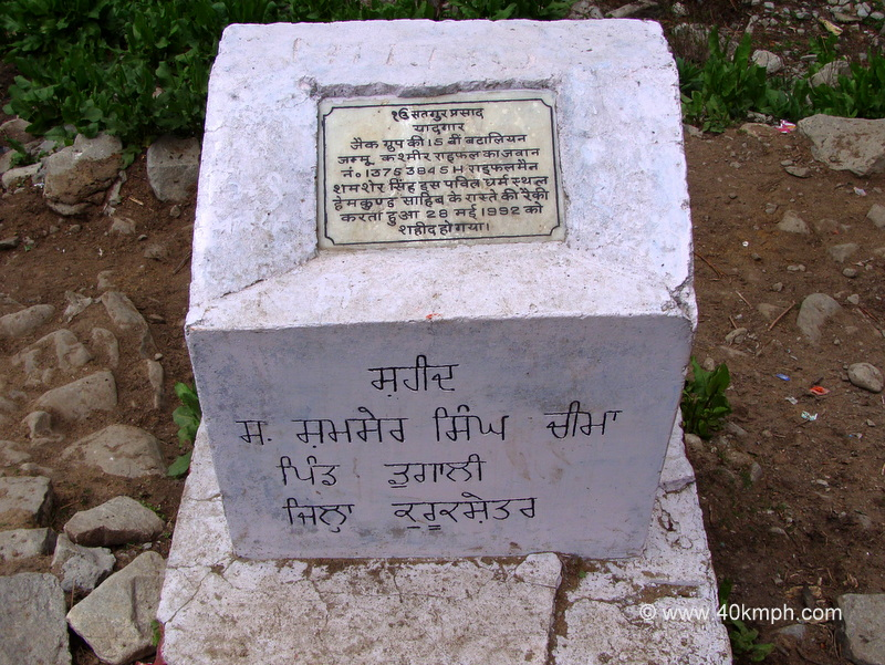 A Memorial Plaque for Soldier at Ghangaria, Uttarakhand