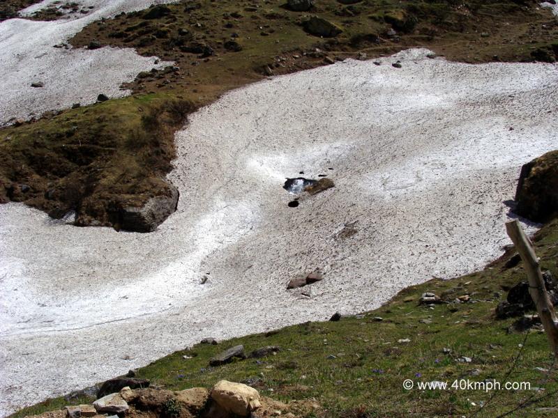 Frozen Rishi Ganga River nearby Charan Paduka, Badrinath, Uttarakhand