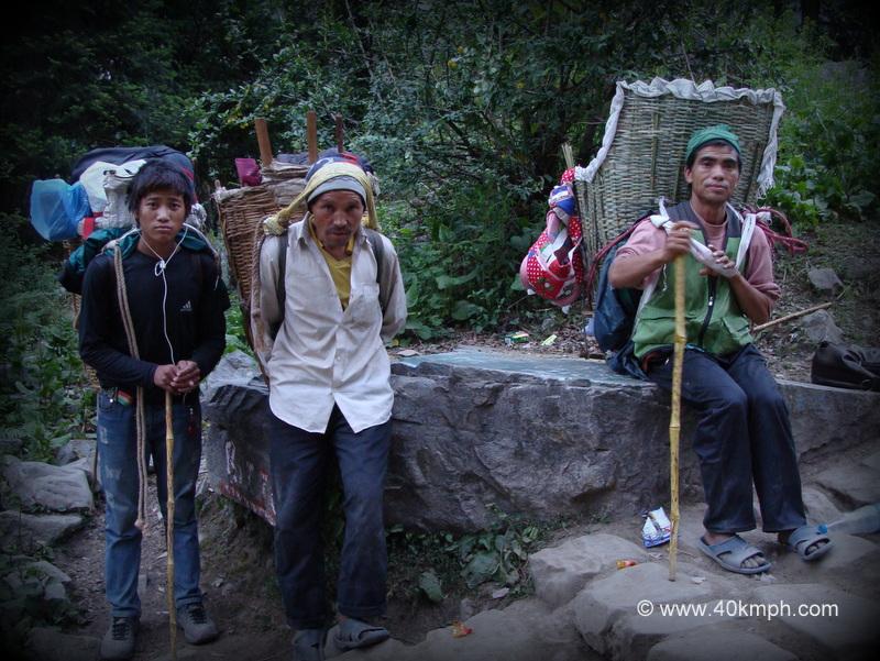 Nepali Porters in Govindghat to Ghangaria Trek, Uttarakhand