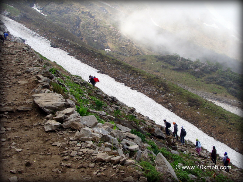 Pilgrims Climb a Hill on their Way to Hemkund Sahib, Uttarakhand