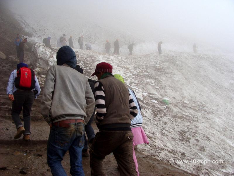 Pilgrims Crossing Hemkund Glacier, Chamoli, Uttarakhand