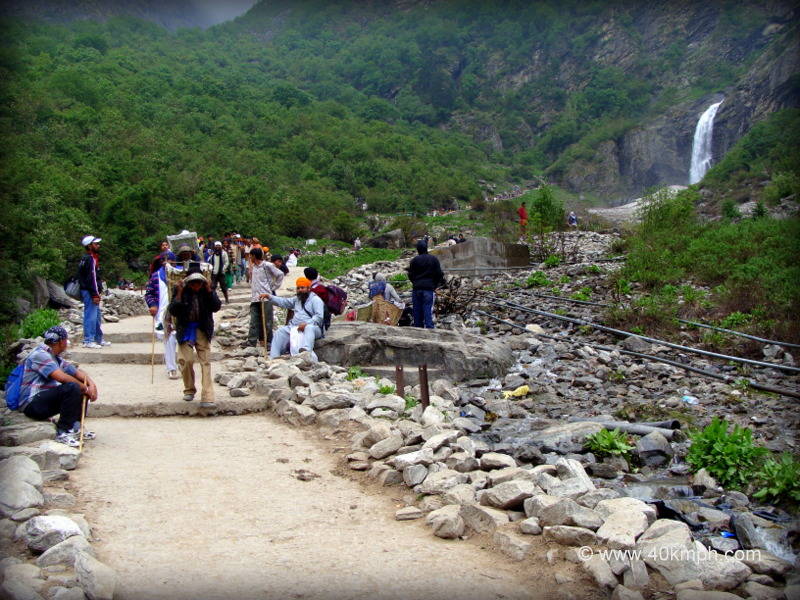 Pilgrims Returning Back to Ghangaria After Trekking to Hemkund Sahib, Uttarakhand