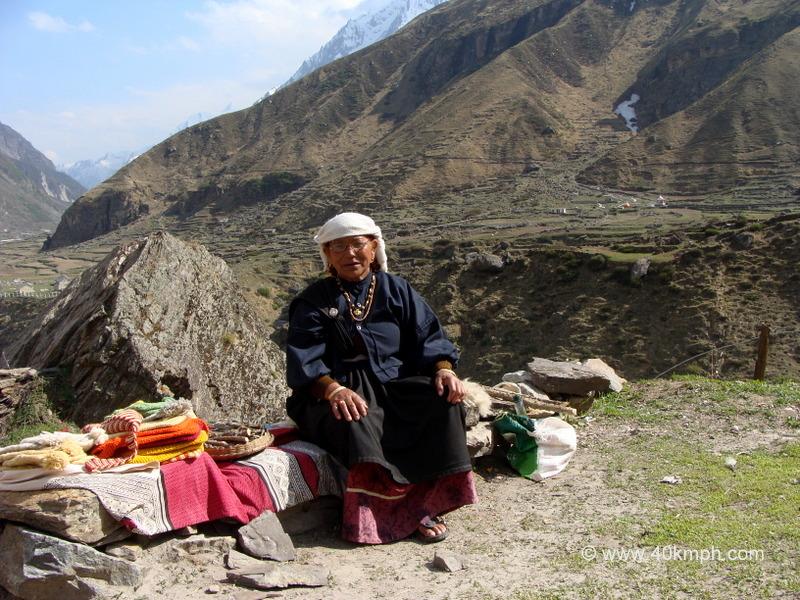 Woman Selling Hand-Spun Woolen Clothes