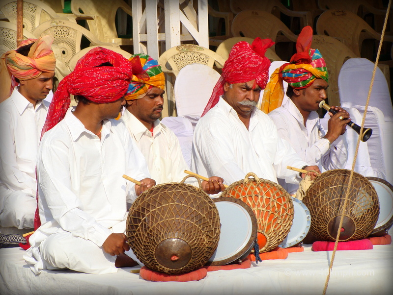 Nathu lal Solinkey and Team Playing Nagara Musical Instrument during Pushkar Fair 2011