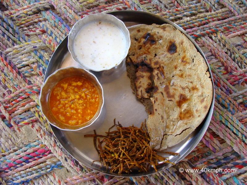 Traditional Rajasthani Thali at Bishnoi Village, Jodhpur, Rajasthan