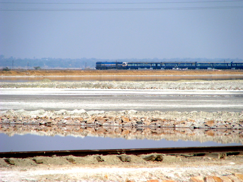 Train Passing Through Sambhar Lake, Rajasthan