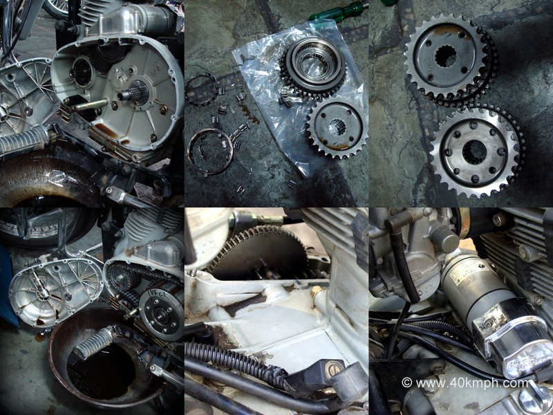 Royal Enfield Thunderbird Disintegrated Sprag Clutch Gear Set Assembly and Starter Motor Replacement