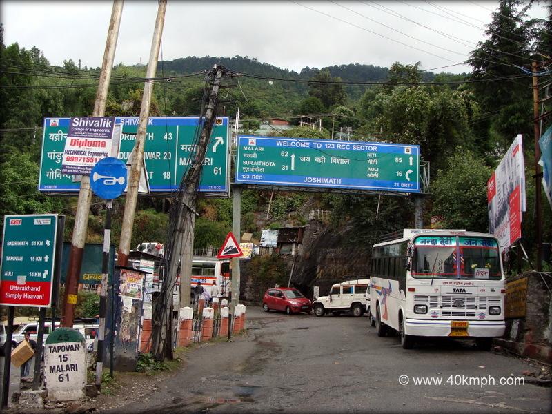 Tourist Places Distance Chart, Joshimath, Uttarakhand