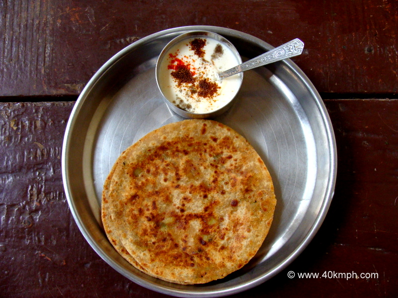 Homemade Aloo Paratha with Dahi for Breakfast