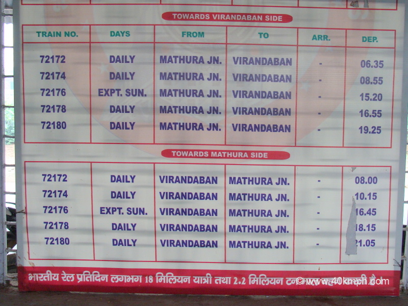 Railbus Timetable at Vrindavan, Uttar Pradesh