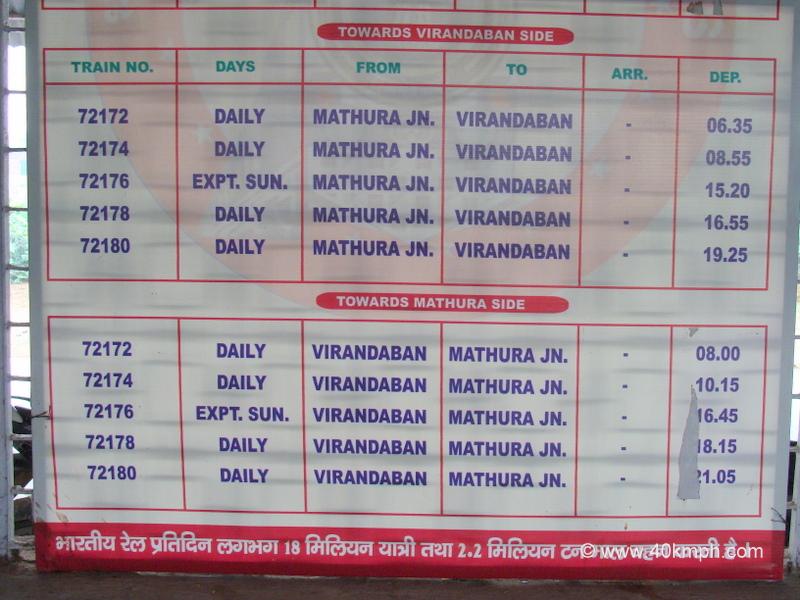 Railbus Timetable at Vrindavan, Uttar Pradesh