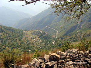 Bird's Eye View of Highway from Chamrara Devi Temple, Pundori Village, Devprayag, Tehri Garhwal, Uttarakhand