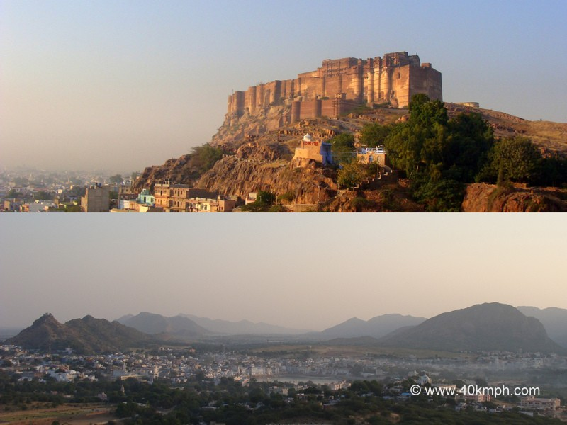 View of Mehrangarh Fort (Jodhpur) and Pushkar Lake, Rajasthan