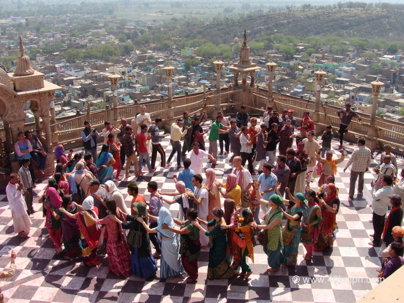 Devotees Chanting Hare Krishna Mantra and Dancing