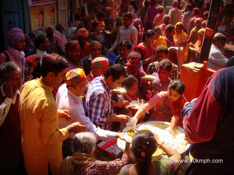 Free Food Distribution on the Occasion of Lathmar Holi Festival at Barsana, Uttar Pradesh
