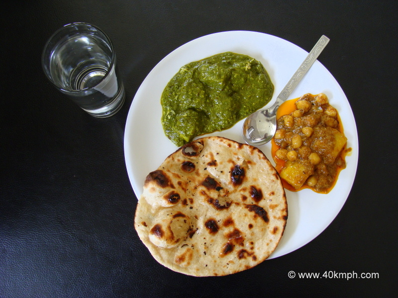 Paneer Palak and Aaloo Chola with Butter Tandoori Roti for Lunch