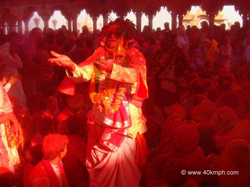 Samaj Gayan on the Occasion of Laddu Mar Holi at Radha Rani Temple, Barsana, Uttar Pradesh
