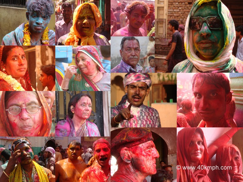 Coloured Faces from Holi Festival