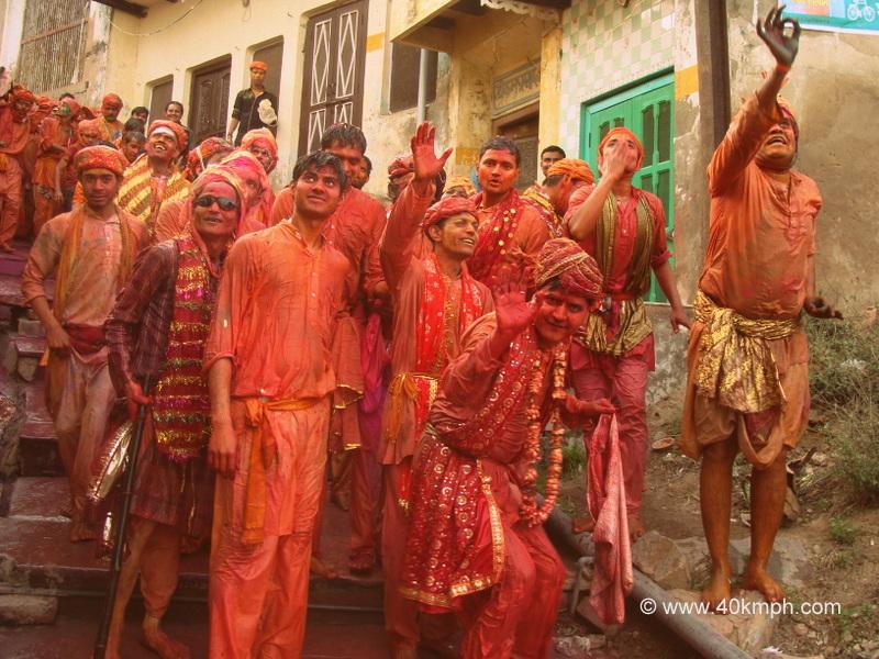 Huriyare Celebrating Lathmar Holi at Nandgaon, Uttar Pradesh