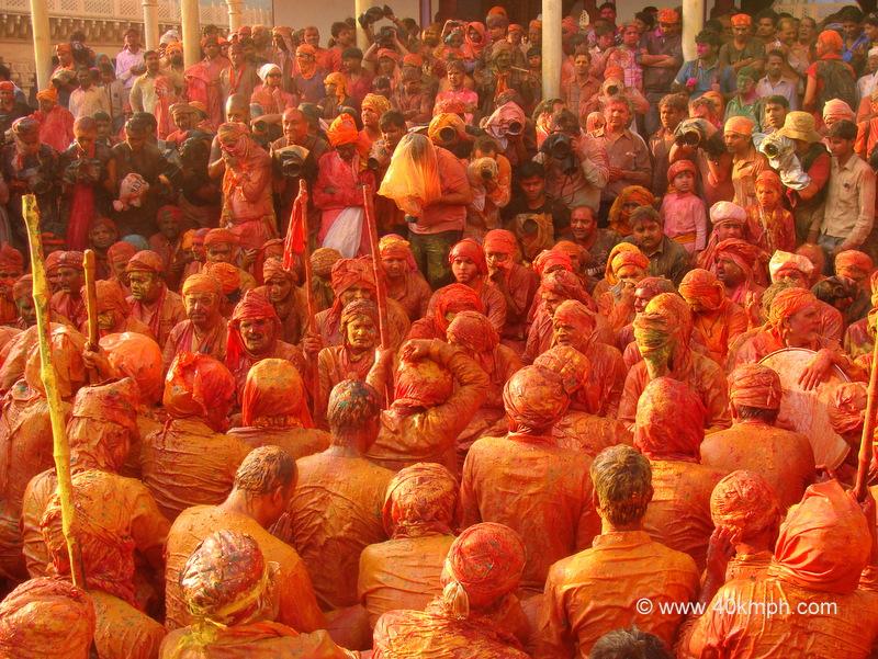 Samaj Gayan on the Occasion of Lathmar Holi at Nandgram Temple, Nandgaon, Uttar Pradesh
