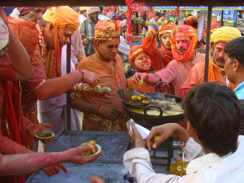 Snack Break for Huriyare during Lathmar Holi at Nandgaon, Uttar Pradesh