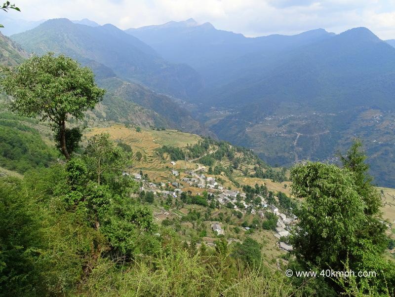 View of Sari Village from Deoria Tal Trek, Rudraprayag, Uttarakhand