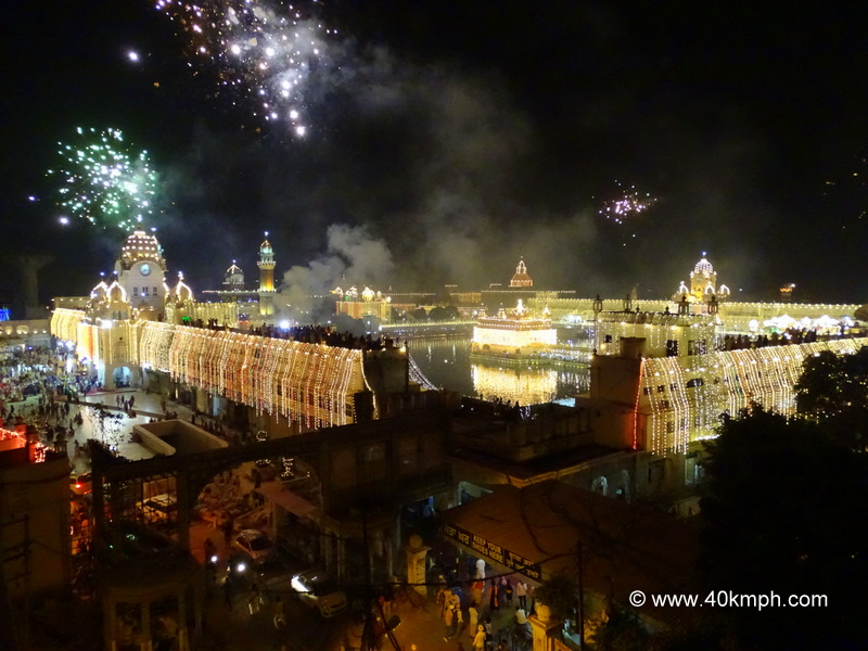 Golden Temple (Amritsar) on Diwali Night View from Hotel Sapphire