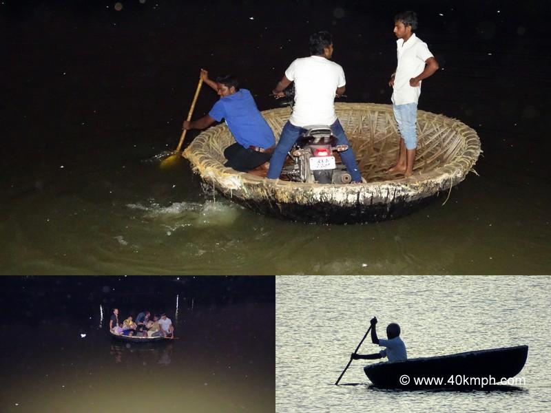 An Indian Coracle on Tungabhadra River at Hampi in Karnataka