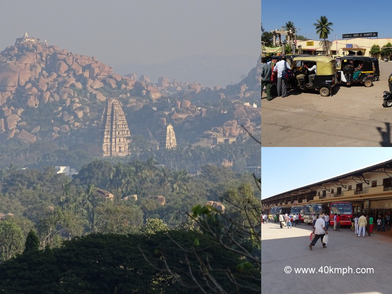 Hospet Railway Station to Hampi by Bus