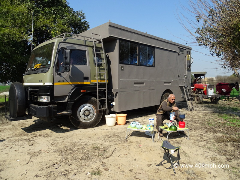 Capt Suresh Sharma and The Overland Truck at Kila Raipur, Punjab