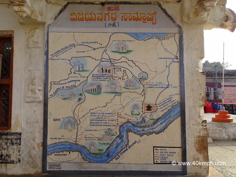 Hand Painted Map of Hampi (Karnataka) at Virupaksha Temple
