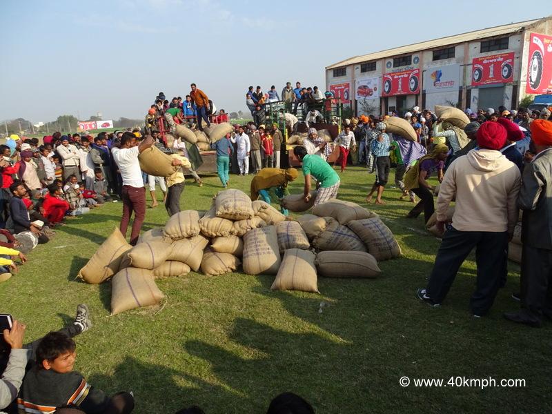 Loading, Offloading Trolley of Paddy at 79th Kila Raipur Sports Festival, Punjab