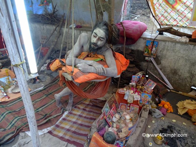 Naga Baba Standing on One Leg (Hatha Yoga), Bhavnath Fair 2015, Junagadh, Gujarat